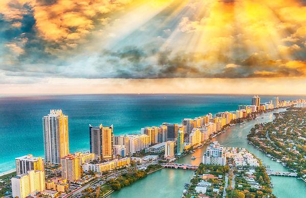 Aerial view of Miami Beach skyline, Flor