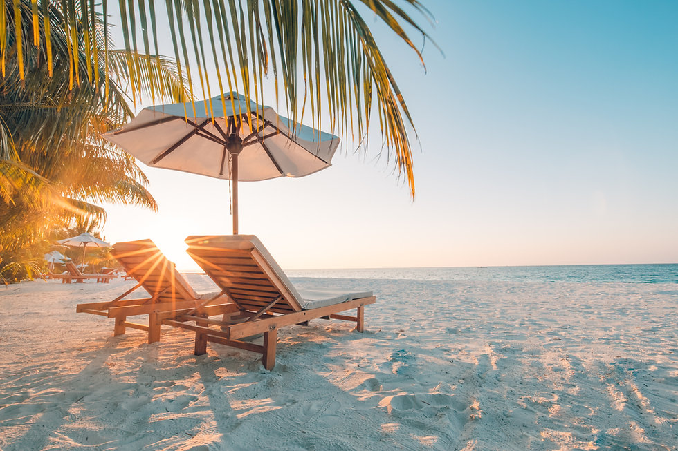 Beautiful beach. Chairs on the sandy bea