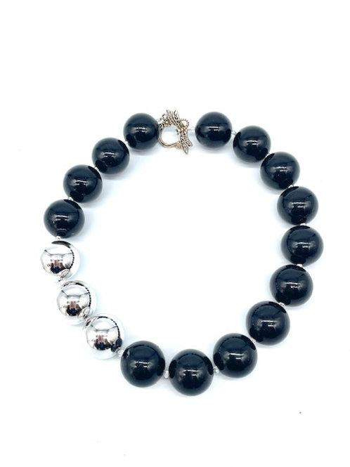 "3 Shiny Silver Beads Necklace (18.5"")"