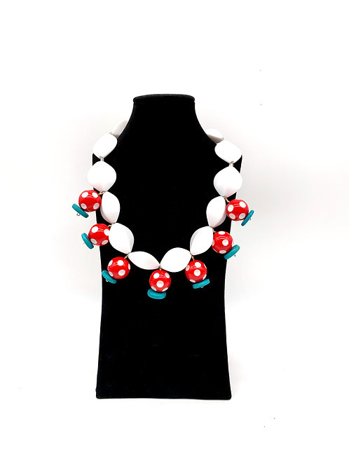 Red and White Polka Dot Necklace