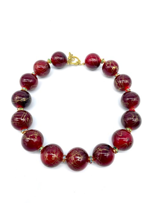 "Brick Red with Gold ""Splatter"" Bead Necklace (18.5"")"