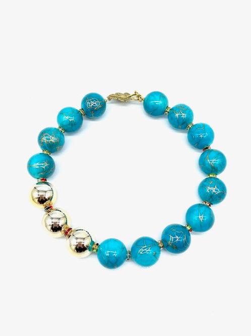 "3 Shiny Gold Beads Necklace (18.5"")"