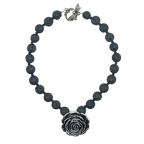 Lava Necklace with Rose Pendant