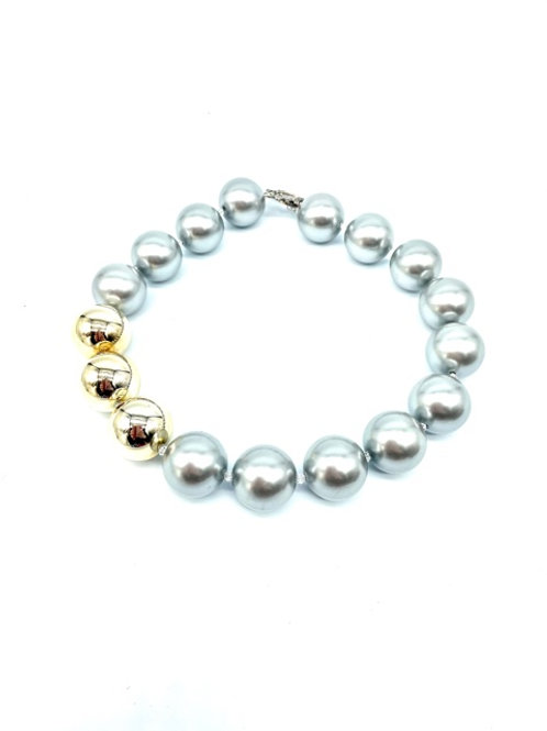 "3 Shiny Gold and Silver ""Pearl"" Bead Necklace (18.5"")"