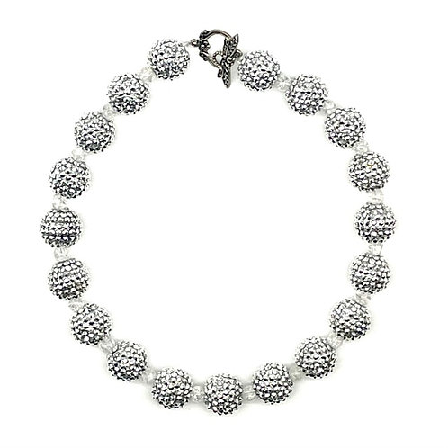 Sparkle Beads Necklace- Silver