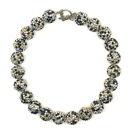 Sparkle Beads Necklace- Multi Silver, Gold, Black