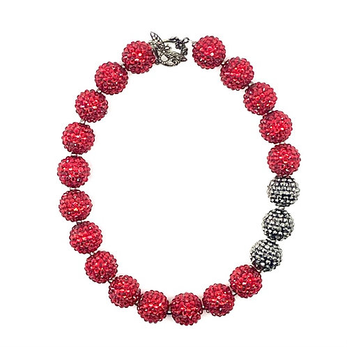 Sparkle Beads Necklace- Red with 3 Gunmetal