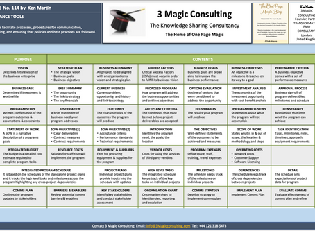 No.114 - ONE PAGE MAGIC: PROGRAM GOVERNANCE TOOLS