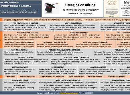 No.86 - ONE PAGE MAGIC: HOW A LEAN BASED STRATEGY CAN GIVE A BUSINESS A COMPETITIVE EDGE
