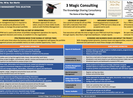 No.98 - ONE PAGE MAGIC: PROJECT PORTFOLIO MANAGEMENT TOOL SELECTION