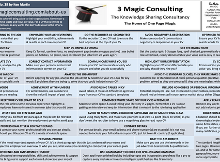 No.29 - ONE PAGE MAGIC - HOW TO USE LEAN PRINCIPLES FOR A GREAT CV (RESUME)