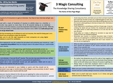 No.139 - ONE PAGE MAGIC★THIRTEEN STEPS TO A GREAT CV (RESUME)★