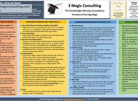 No.140 - ONE PAGE MAGIC★TEN BEST PRACTICES FOR SUCCESSFUL PHONE INTERVIEWS★