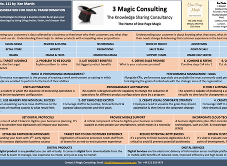No.111 - ONE PAGE MAGIC: KEY ELEMENTS OF CONSIDERATION FOR DIGITAL TRANSFORMATION