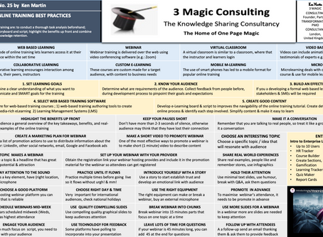 No.25 - ONE PAGE MAGIC - AN OVERVIEW OF ONLINE TRAINING BEST PRACTICES