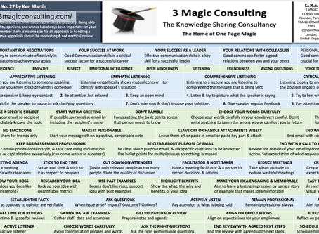 No.27 - ONE PAGE MAGIC - TIPS TO IMPROVE YOUR COMMUNICATION SKILLS
