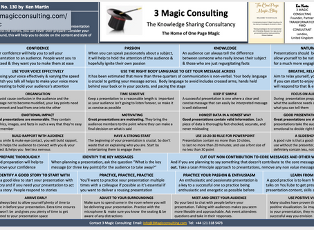No.130- ONE PAGE MAGIC★TIPS FOR SUCCESSFUL PRESENTATIONS★