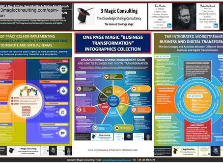 """No.117 - ★THE ONE PAGE MAGIC """"BUSINESS TRANSFORMATION"""" INFOGRAPHIC COLLECTION ★"""