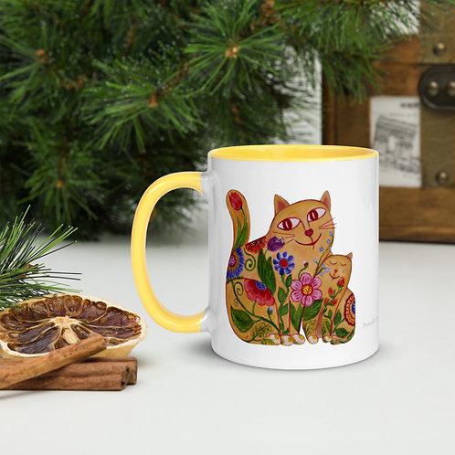 Mother Cat Mug with Color Inside