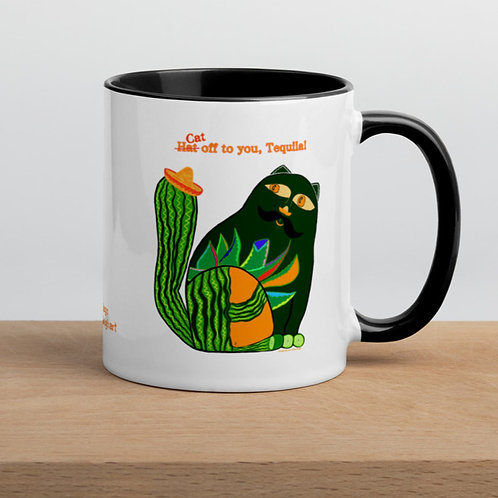 Tequila Cat with the Sombrero Hat  Mug with Color Inside