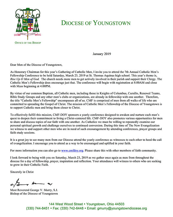 Bishop Letter to Men of DOY on Letterhea