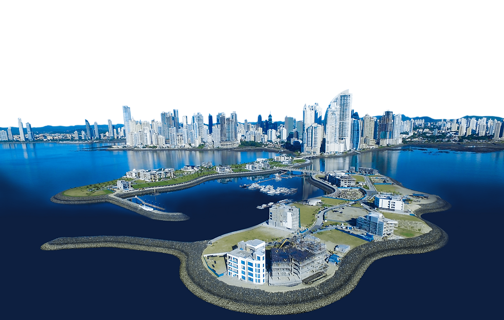 Skyline de la Ciudad de Panamá junto con las islas residenciales de Ocean Reef Islands