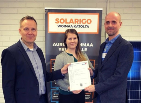ISO 9001 -laadunhallintasertifikaatti Solarigo Systemsille!