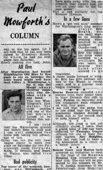 Eric Heath Newspaper Cutting, Warmington Wasps