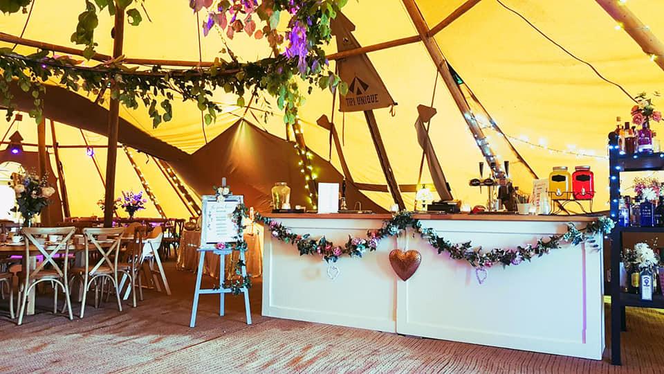 Tipi wedding in shropshire, tipi bar shrewsbury