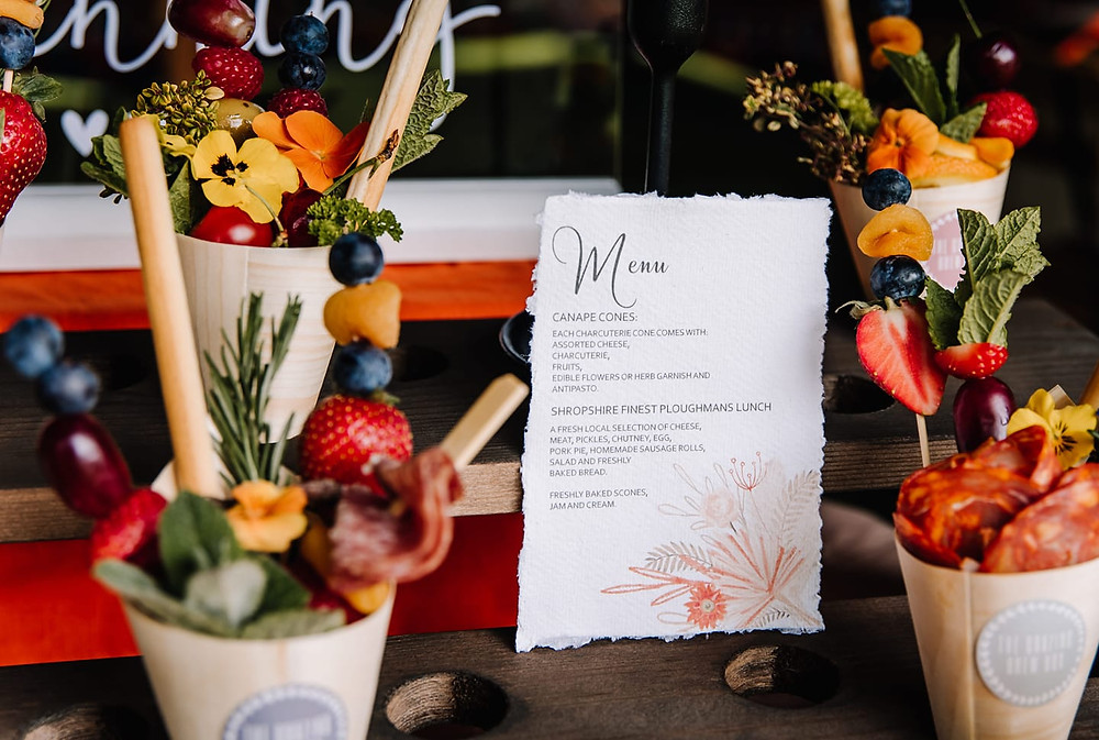 Wedding Stationary for Canape Cones, Wedding Catering