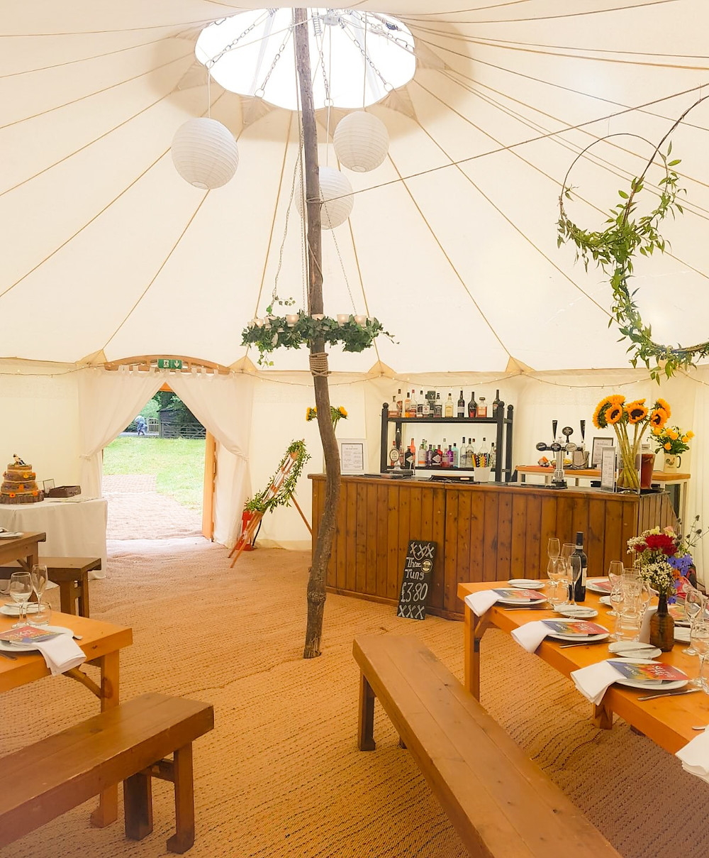Round tent wedding, rustic mobile bar, How to do a wedding on a small budget, venue decoration ideas