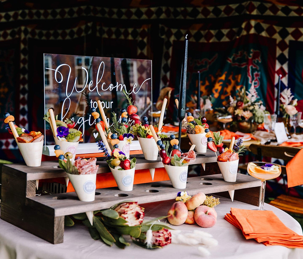 Canapes service in Shropshire, canape cones, covid safe canapes, wedding catering, sustainable catering