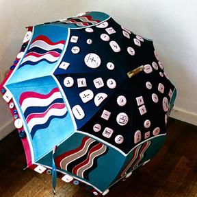 Boutons en porcelaine sur le parapluie