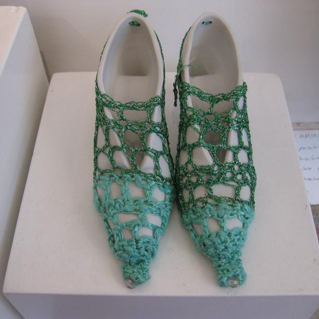 Chaussures en porcelaine avec textile