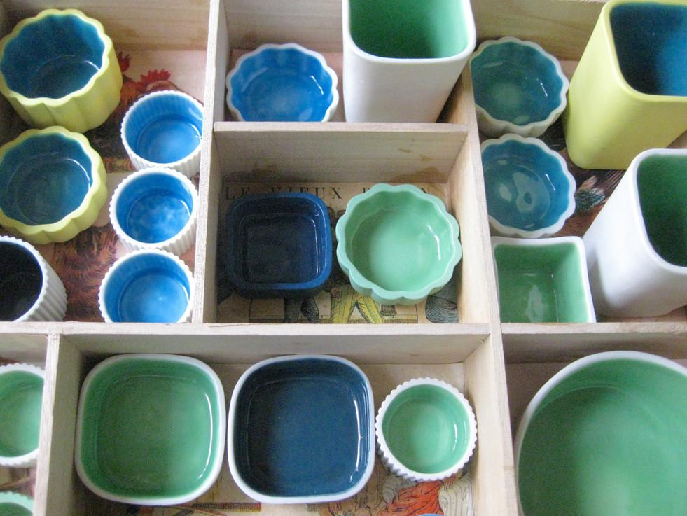 Petits pots en porcelaine