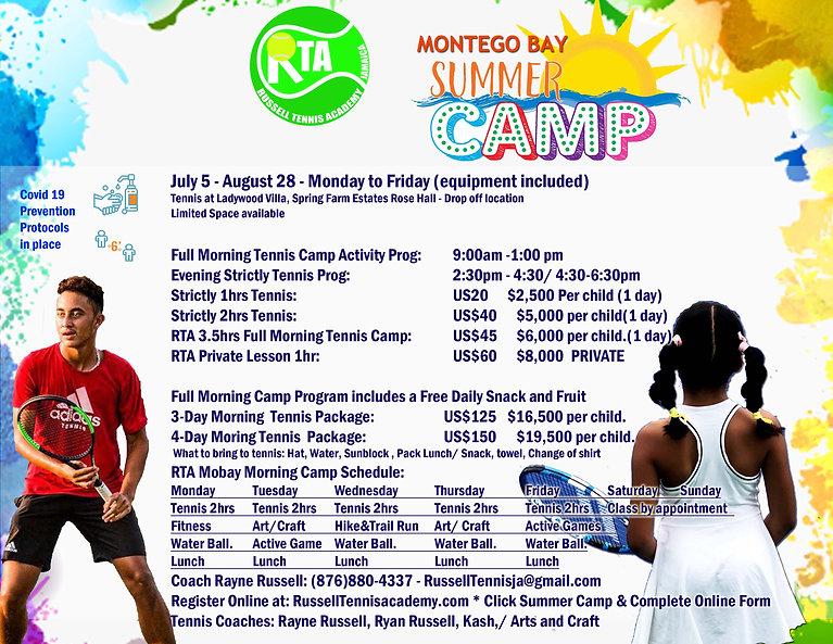 RTA Summer Camp Activity schedule 2021 m