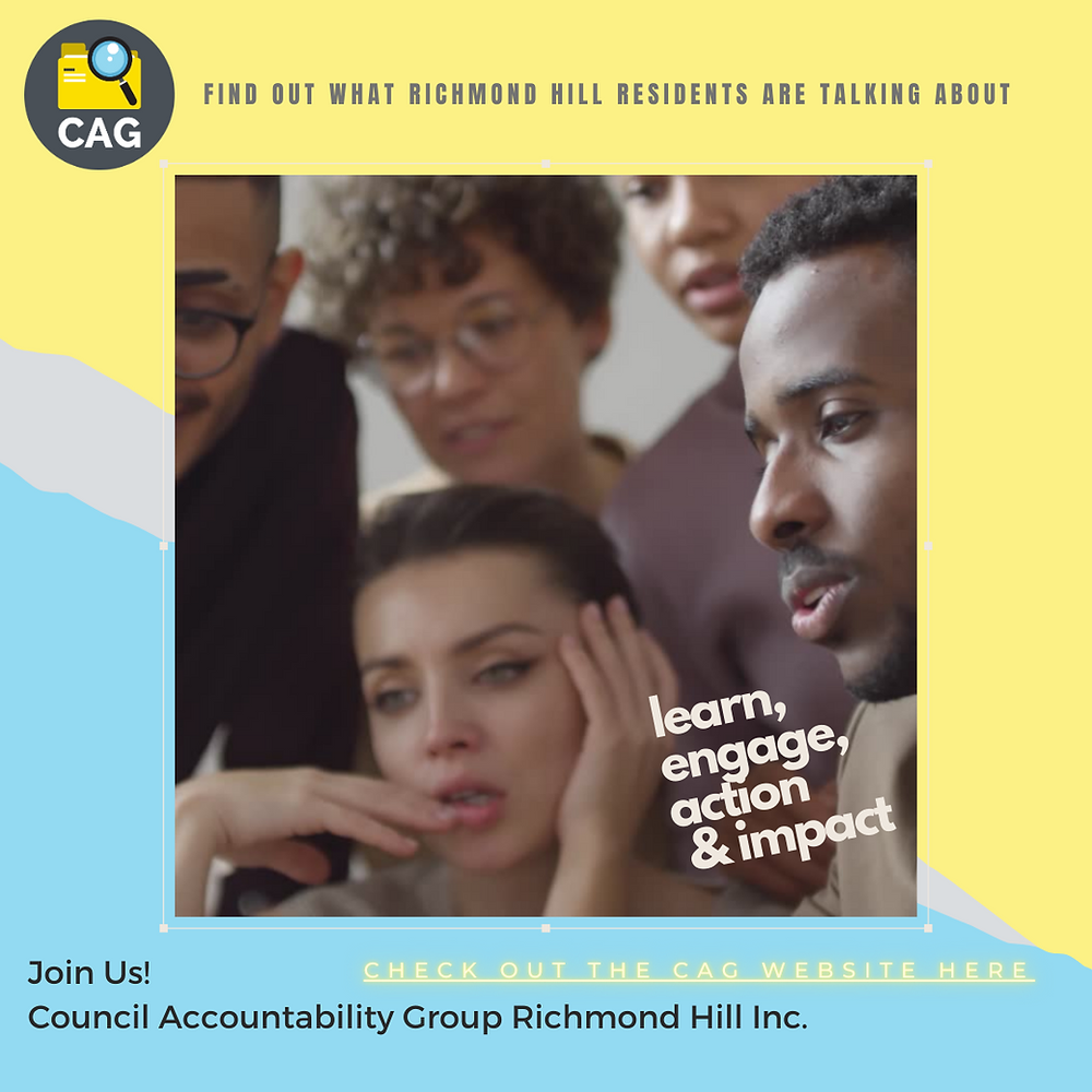Spread the word about the Council Accountability Group Richmond Hill Inc.