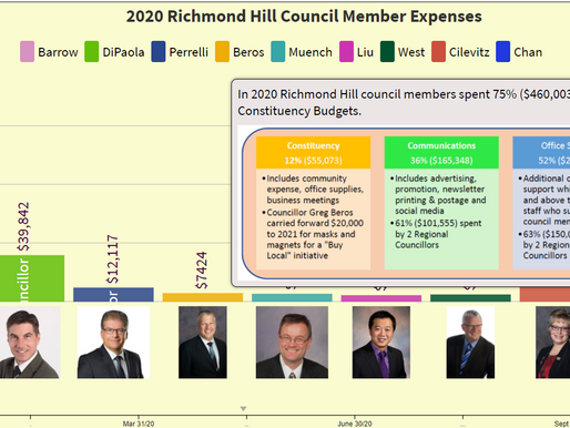 How much were the Richmond Hill Council Member Expenses in 2020?