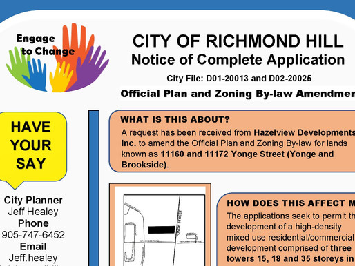 Request to build 3 towers at Yonge and Brookside in Richmond Hill