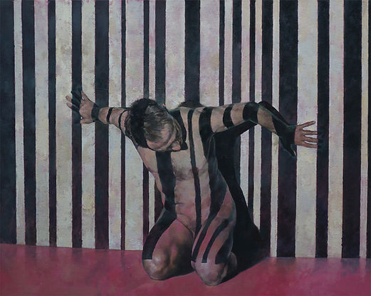 Barcode Against the Wall oil on canvas.j