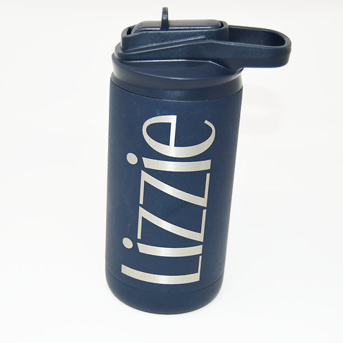 12oz Water Bottle Navy with Logo and Name