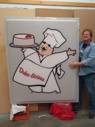 Duke Bakery sign with Steve