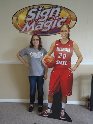 foamboard standup girl basketball