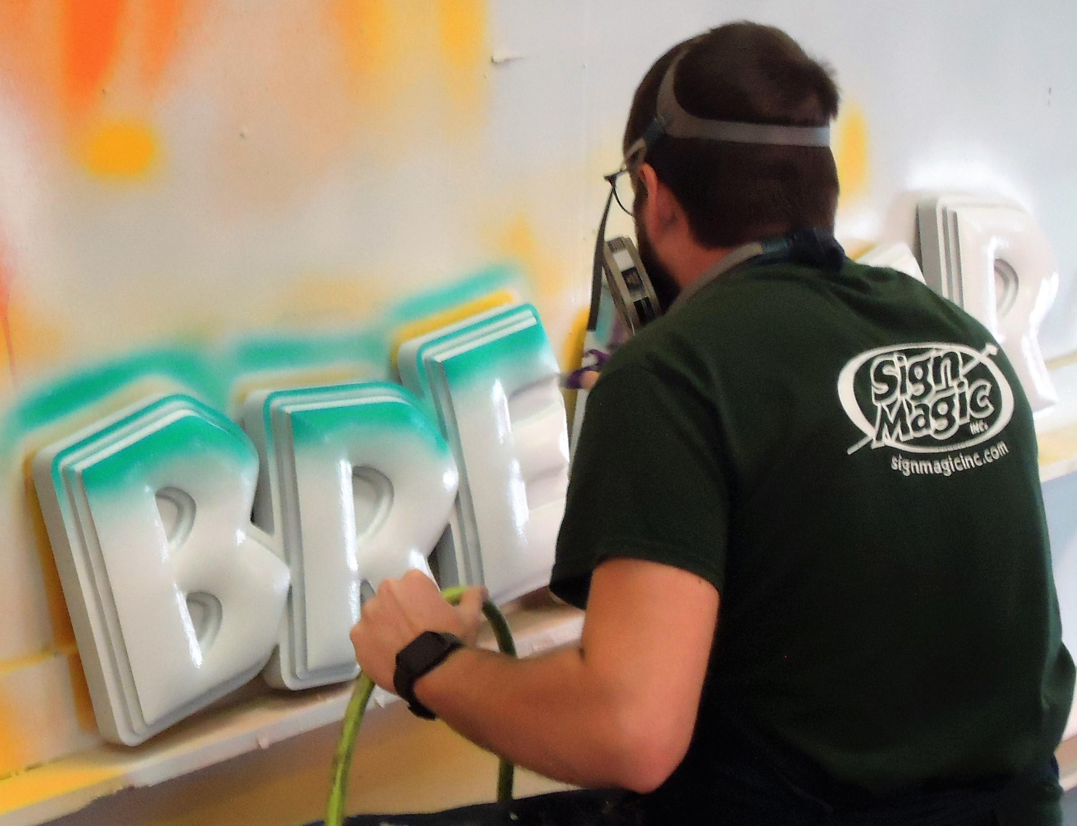 Nathan painting Breaker Beach.