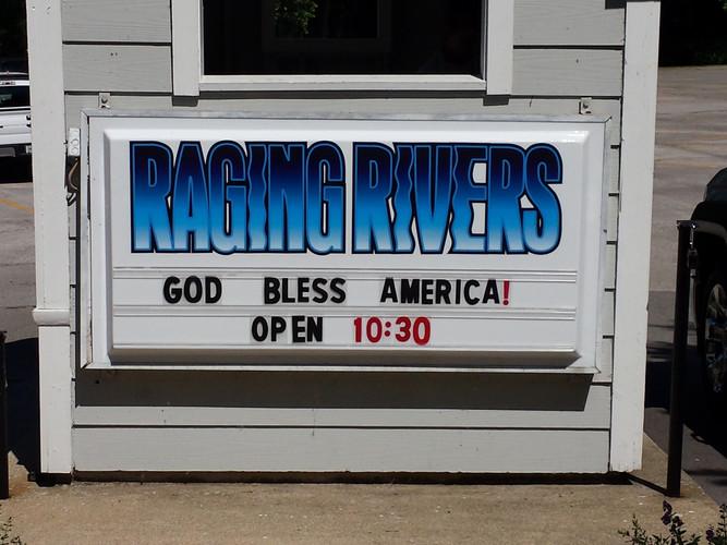 Raging Rivers Backlit Sign