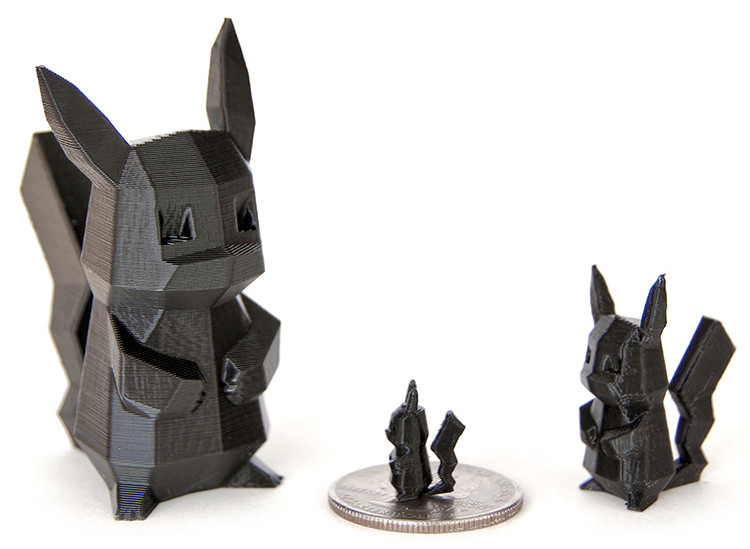 Miniature Low Poly Pikachu's 3D Printed on the gMax Printer
