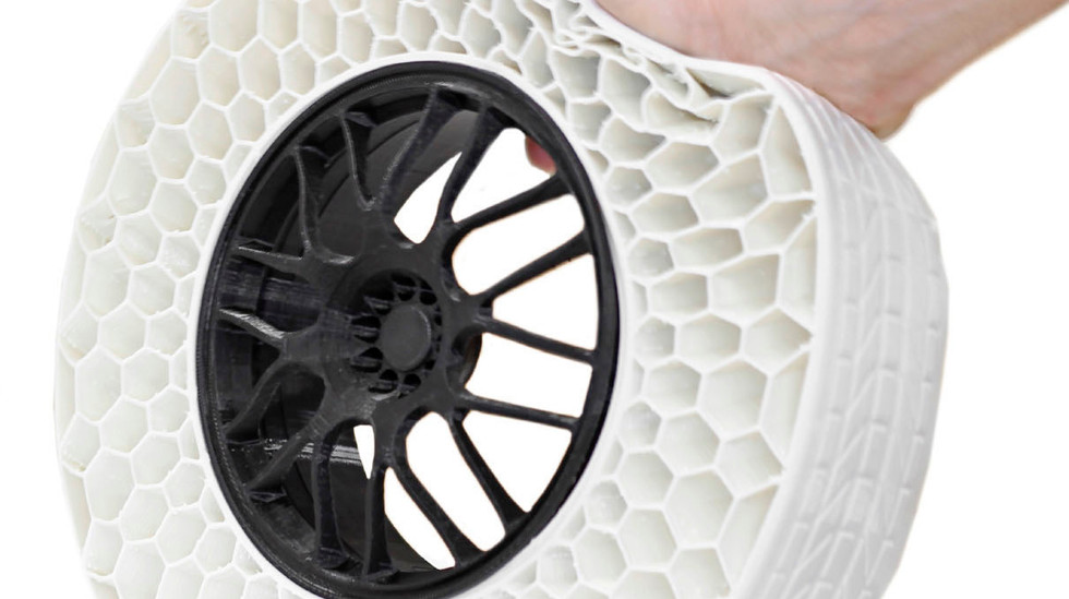 3D Printed Flexible TPU Airless Tire with Carbon Fiber PLA Rim