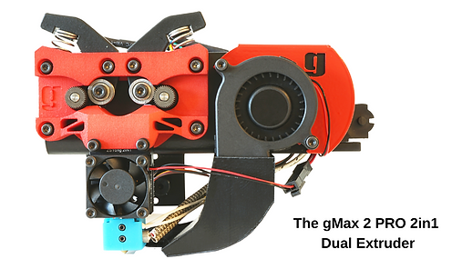Closeup of the gMax 2 PRO 3D printer 2in1 dual extruder