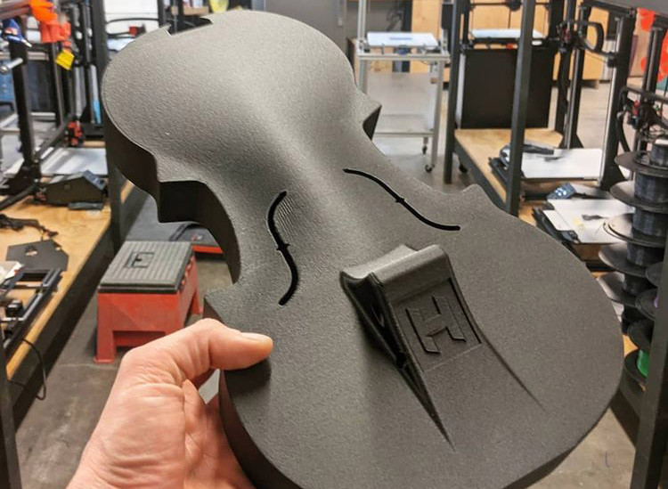 3D Printed Hovalin Playable Violin in Carbon Fiber PLA on the gMax 2 PRO 3D Printer