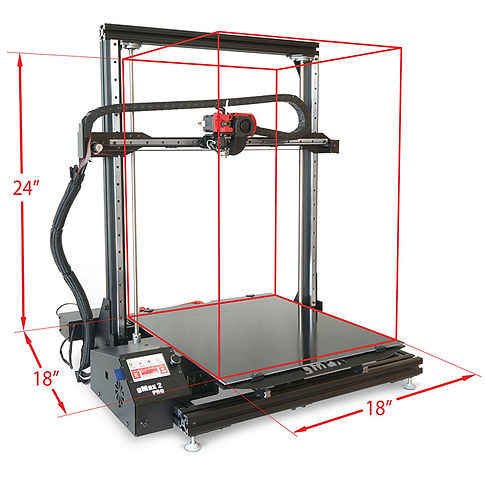 """gCreate gMax 2 PRO 3D printer with 18"""" x 18"""" x 24"""" large format 3D printing build volume"""